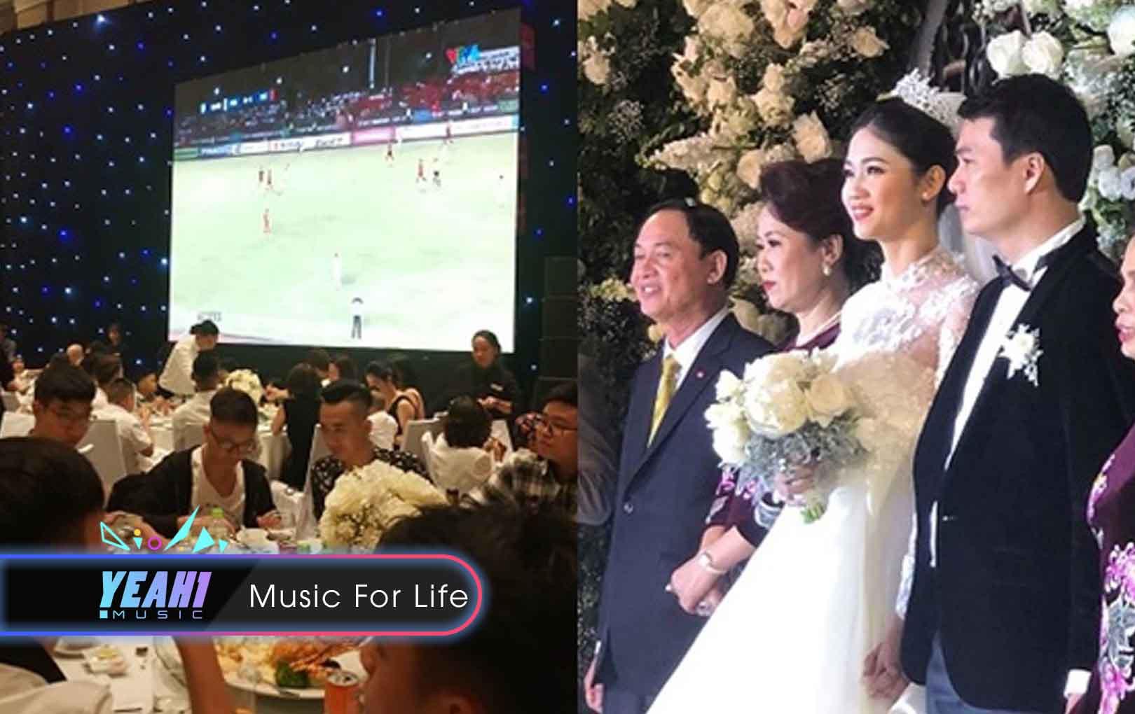 """Giữa hôn lễ lại có bán kết AFF, Thanh Tú bảo chồng """"nghỉ cưới"""", bật máy chiếu cho khách xem bóng luôn"""