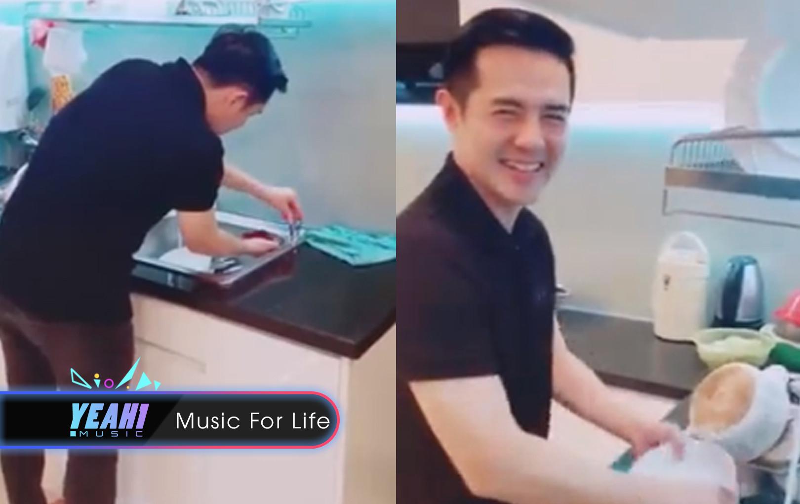 Đông Nhi hạnh phúc khoe clip Ông Cao Thắng xắn tay vào bếp rửa chén bát phụ cực dễ thương