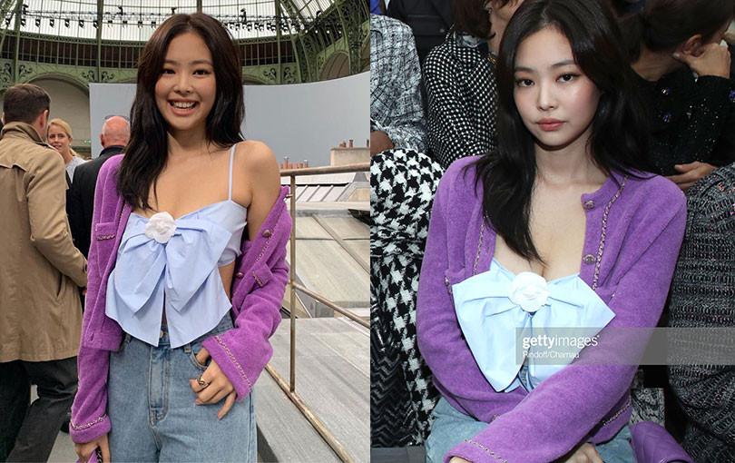 """Diện set đồ """"quê mùa"""" dự Paris Fashion Week, Jennie (BLACKPINK) vẫn thu hút ống kính nhờ vòng 1 bốc lửa"""
