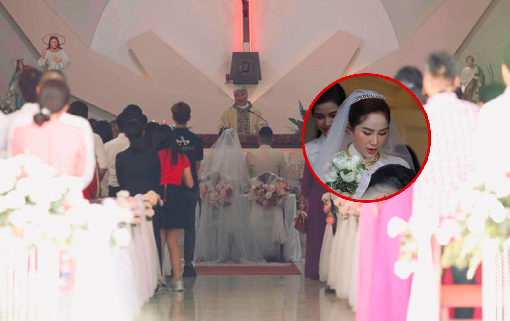 Bảo Thy diện váy trắng lộng lẫy đọc lời tuyên thệ tại nhà thờ trong lễ cưới với ông xã doanh nhân