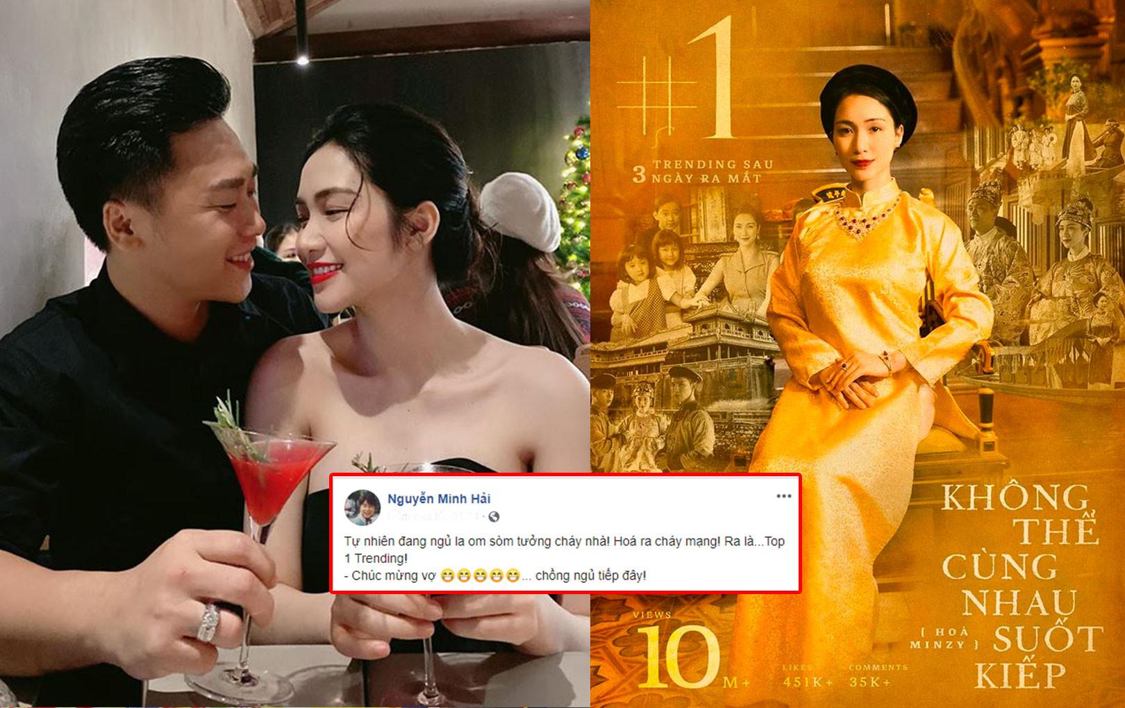 Bạn trai chúc mừng Hoà Minzy lên top 1 trending Youtube, vô tình tiết lộ chi tiết đang sống chung nhà