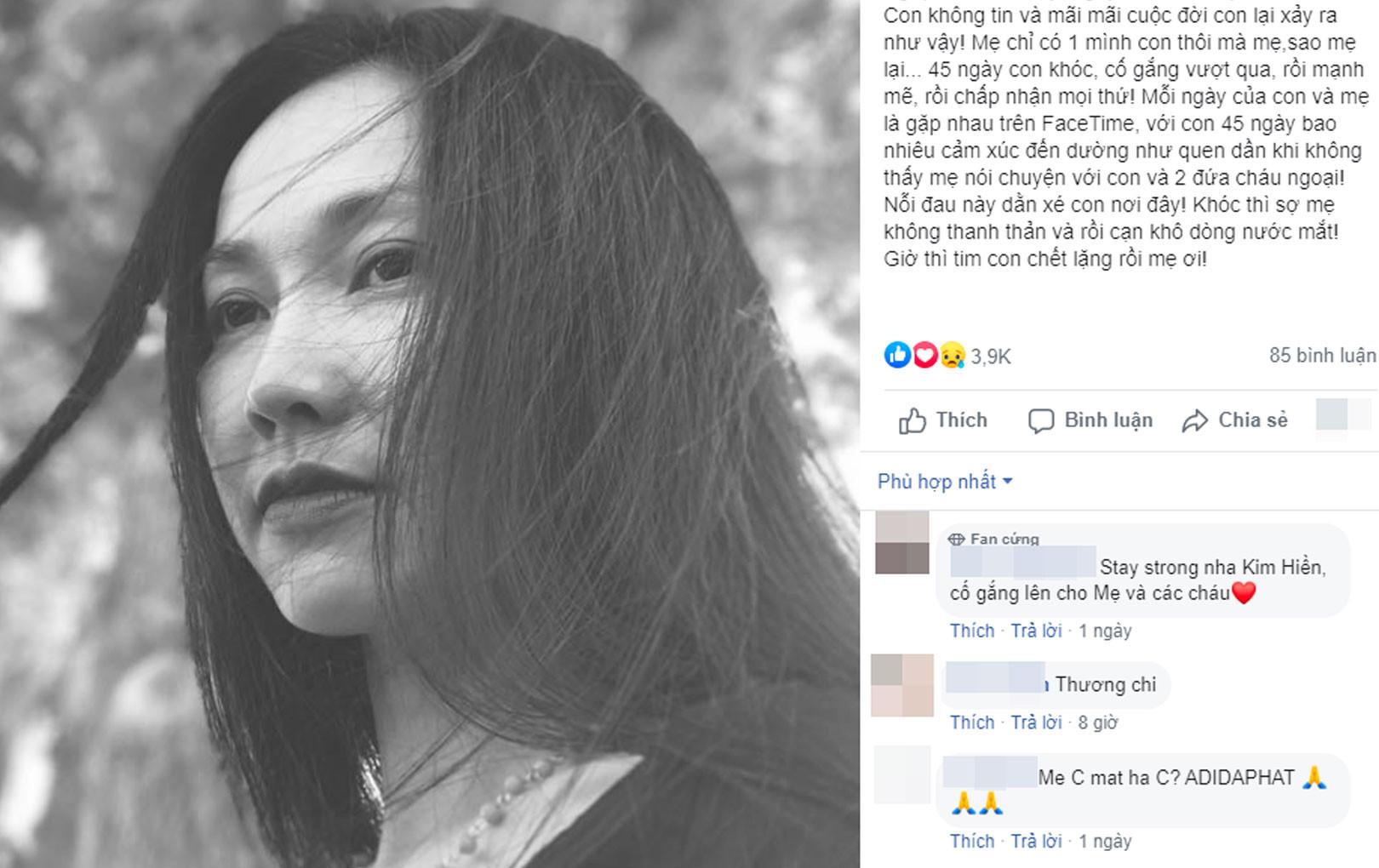 """Xót xa khi đọc lại """"nhật ký"""" của Kim Hiền trước khi mẹ qua đời, đếm từng ngày mong được gặp mẹ giờ đã không thể làm được nữa"""