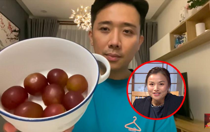 Trấn Thành review chùm nho được tặng có giá lên tới 11 triệu, Quỳnh Trần JP mời sang Nhật để ăn tiếp