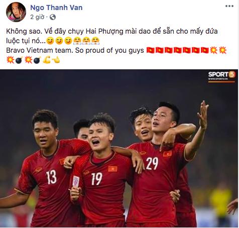 Sao Việt chúc mừng, hi vọng một kết quả hoành tráng tại lượt về giữa ĐT Việt Nam và ĐT Malaysia