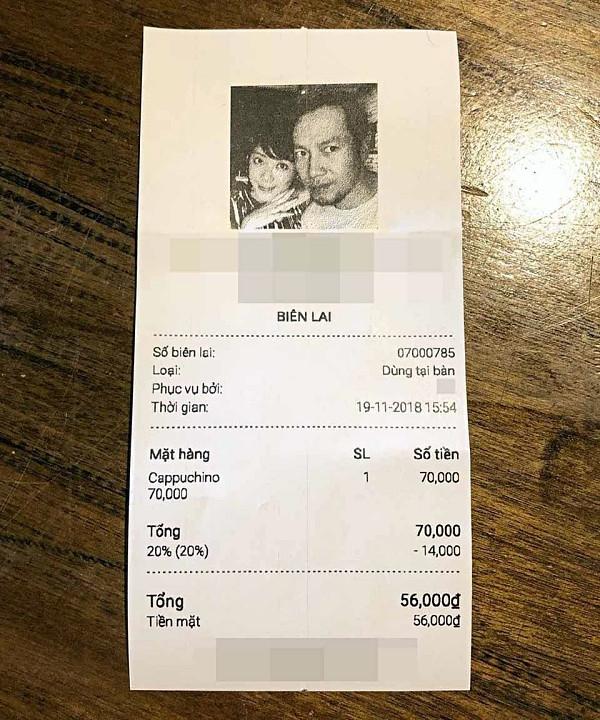 Đinh Tiến Đạt in ảnh vợ sắp cưới lên hóa đơn quán cà phê, vì sao?