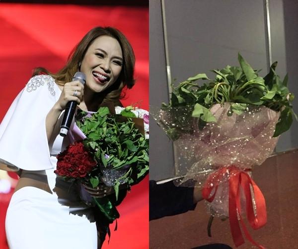 Cứ tưởng fan tặng Mỹ Tâm bó rau muống đã độc lắm rồi, ngờ đầu fan Hòa Minzy còn lầy hơn