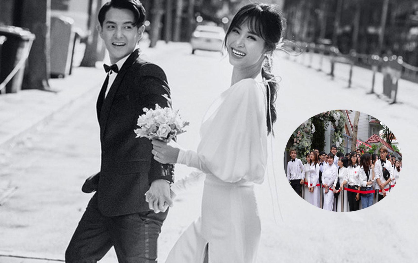 Lễ rước dâu Đông Nhi - Ông Cao Thắng: Fan nữ đồng loạt diện áo dài trắng, nam mặc áo trắng đeo nơ