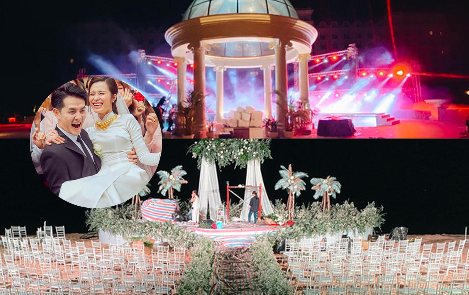 Đột nhập địa điểm diễn ra lễ cưới của Đông Nhi - Ông Cao Thắng: Hoa phủ kín, ánh sáng lên tạo không gian cổ tích giữa biển