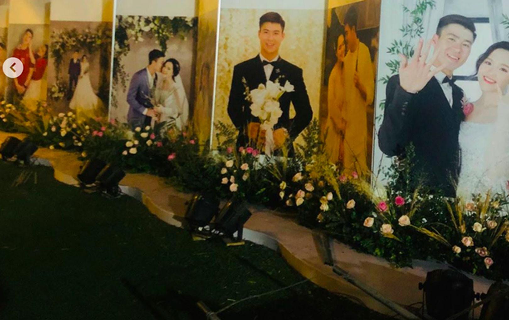 Nhà Duy Mạnh dựng rạp đám cưới hoành tráng , không gian cổ tích tràn ngập hoa và hình ảnh cô dâu, chú rể