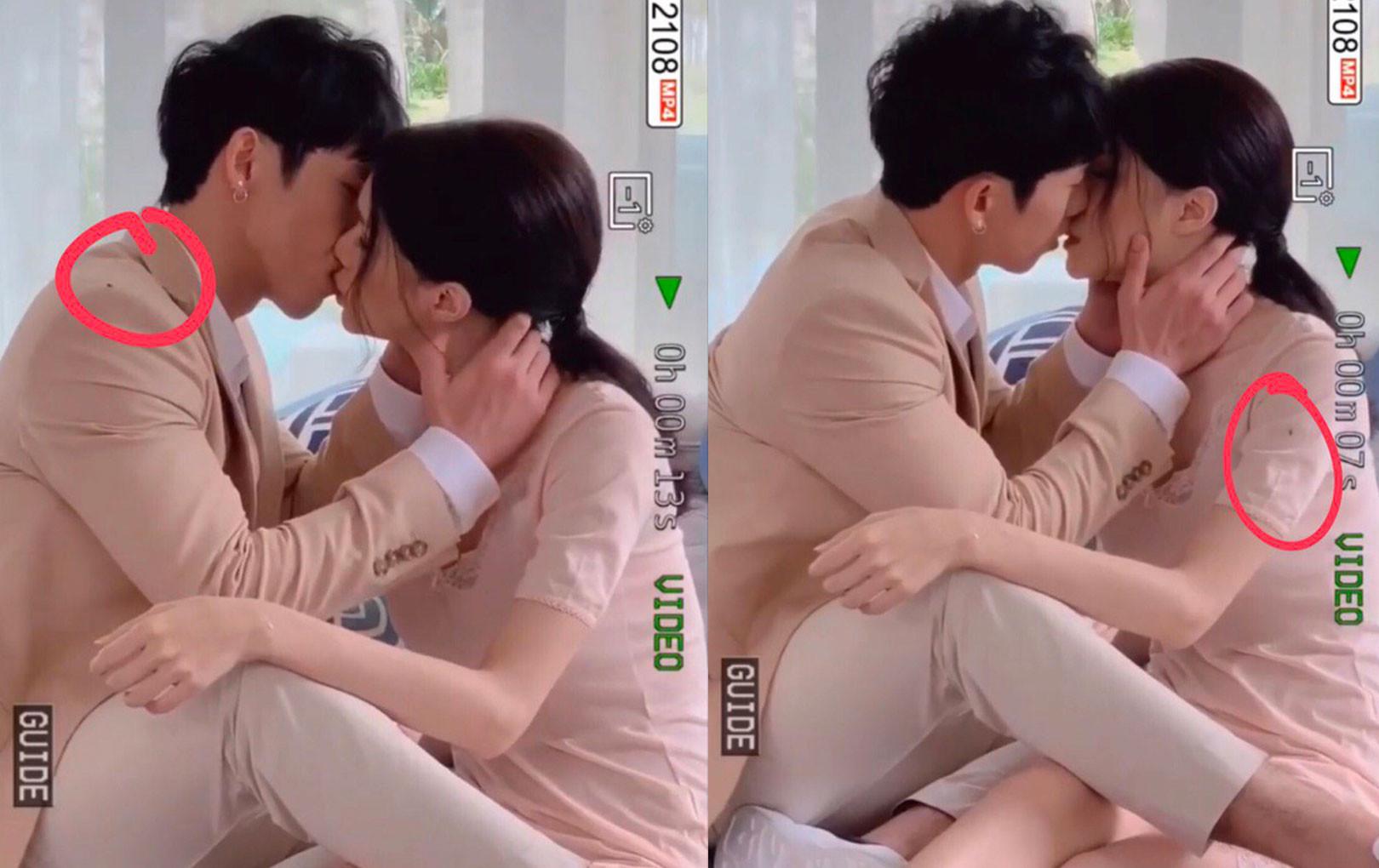 """Khoảnh khắc Hương Giang đang hôn Tuấn Trần ngọt lịm nhưng lại bị """"kẻ thứ 3"""" xen vào"""