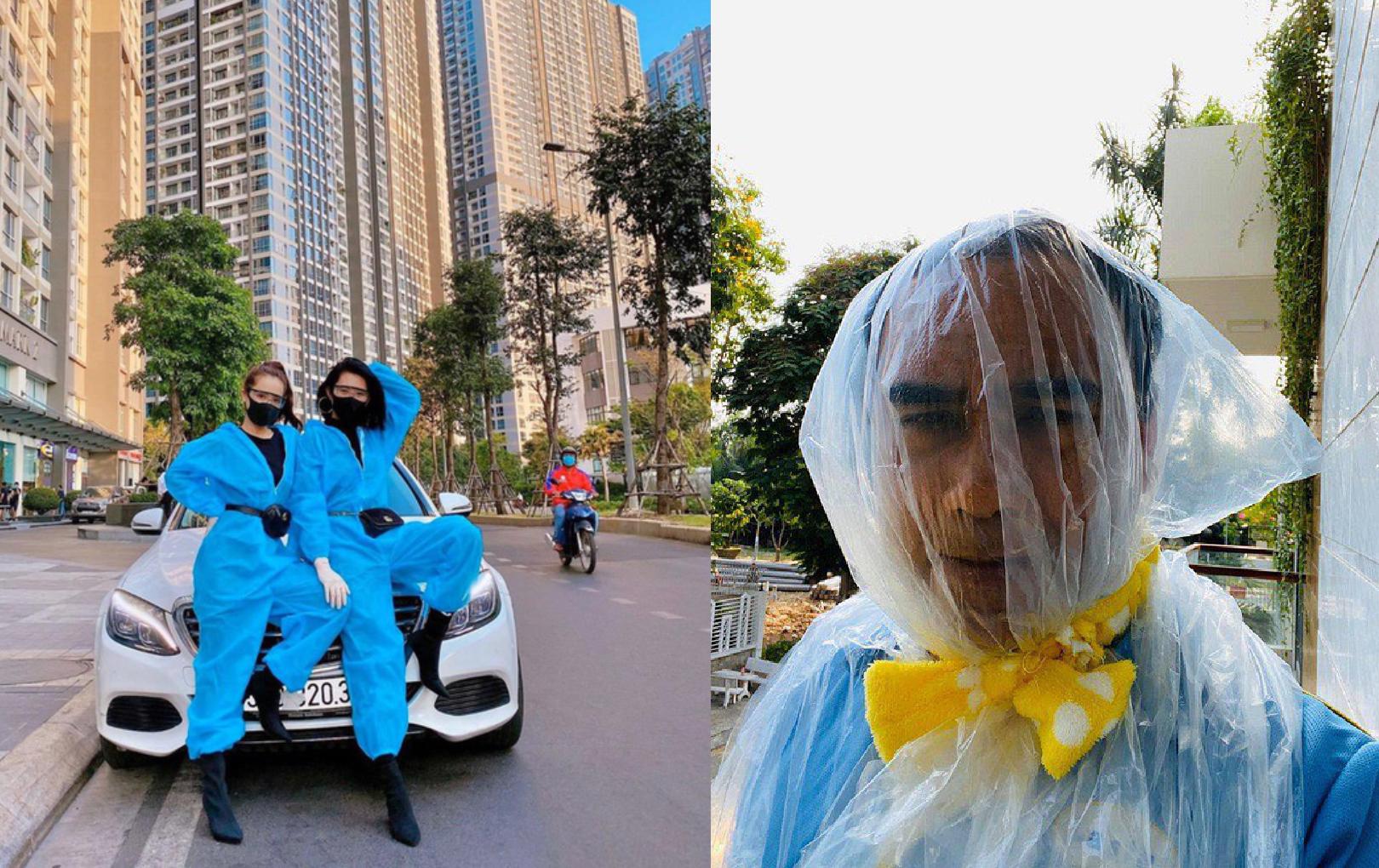 """Trend """"trang bị"""" gây bão mùa dịch của sao Việt: Quyền Linh cực hài, Nhã Phương, Thúy Ngân mặc áo mưa vẫn thời thượng đừng hỏi!"""
