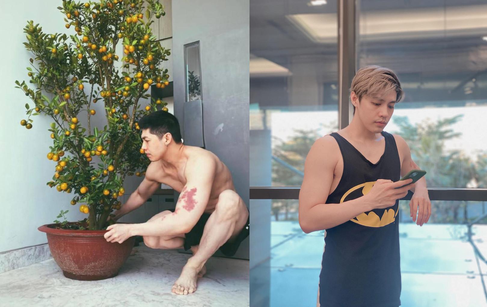 """Noo Phước Thịnh phô diễn body """"trá hình"""" qua ảnh khoe cây cận ngày Tết, chú thích kèm theo còn khiến netizen đỏ mặt hơn"""