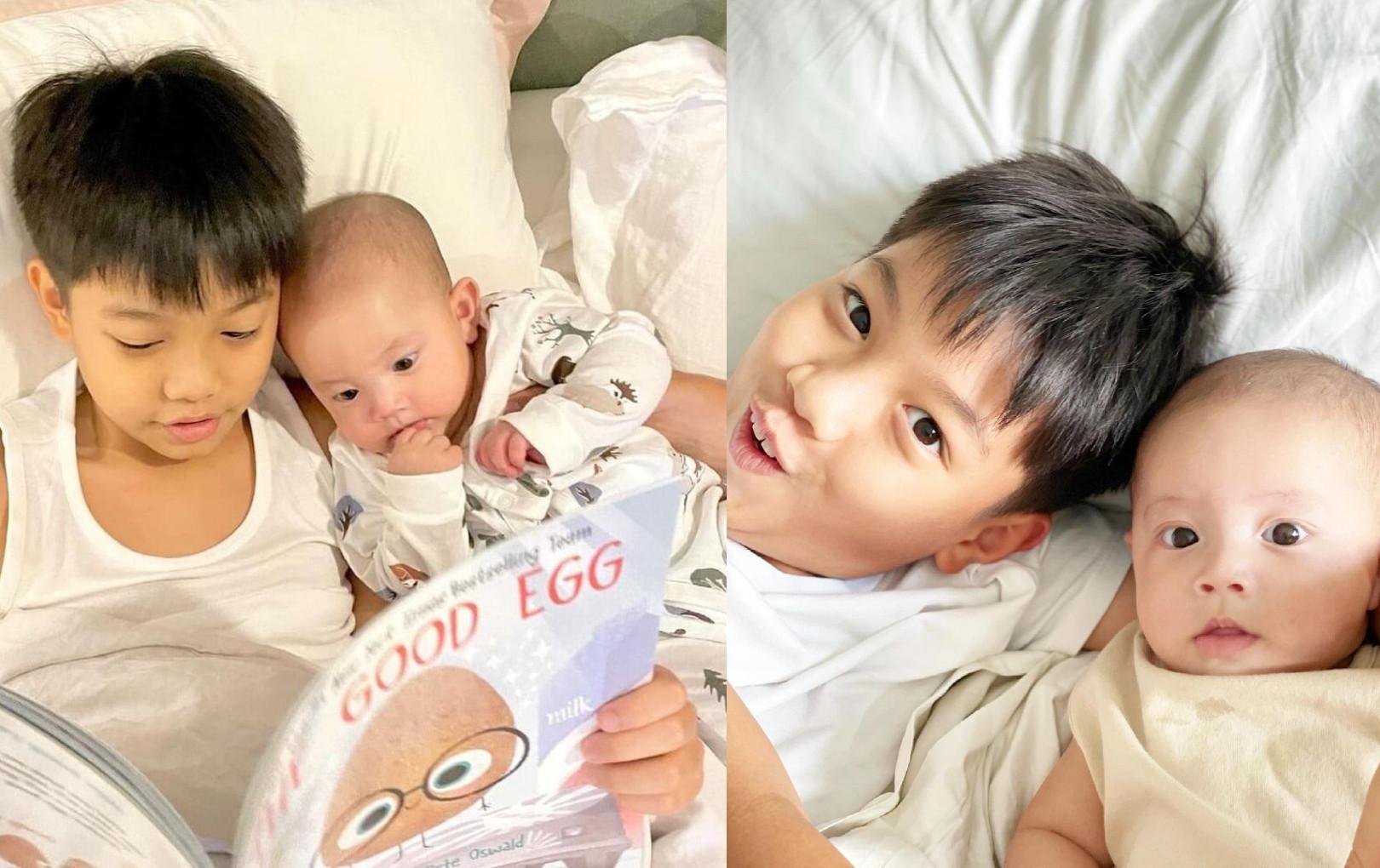 """Subeo thay Kim Lý đọc truyện cho em gái Lisa, nhìn biểu cảm 2 anh em """"cưng xỉu"""""""