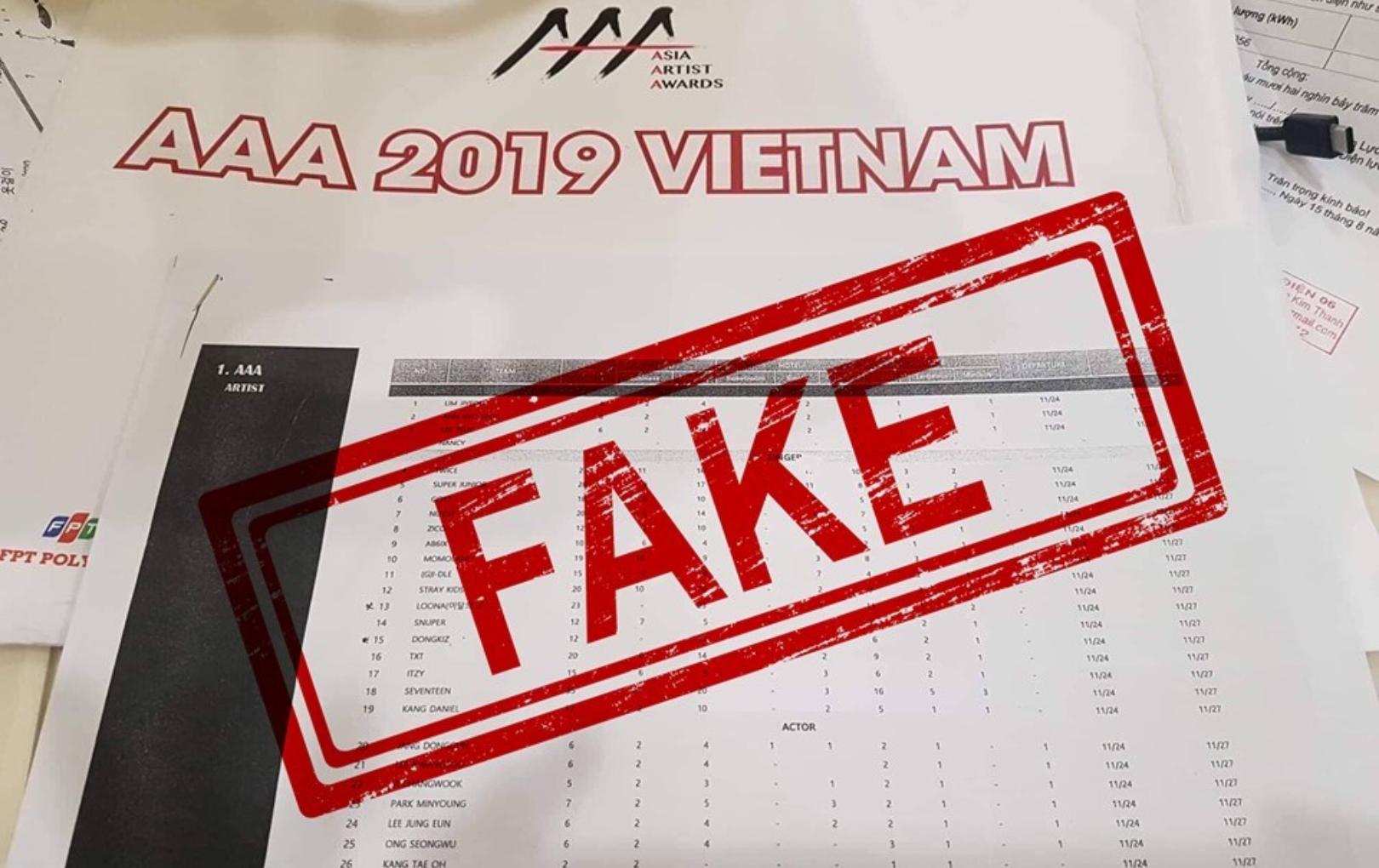 Rò rỉ dàn line-up AAA 2019, ban tổ chức khẳng định chỉ là giả mạo