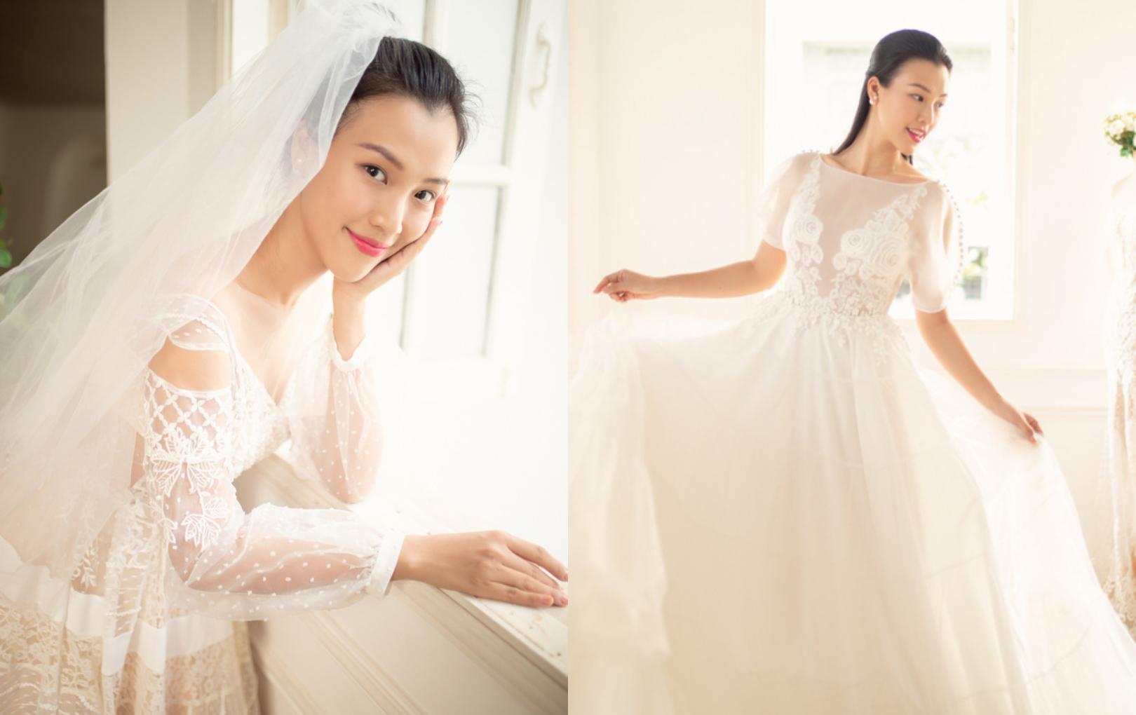Hoàng Oanh một mình đi thử áo cưới, xinh đẹp như công chúa trước ngày trọng đại