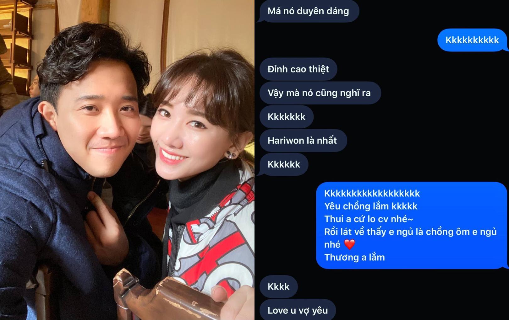 Hari Won tiếp tục khiến fan ghen nổ mắt khi tung đoạn tin nhắn cực tình tứ với Trấn Thành
