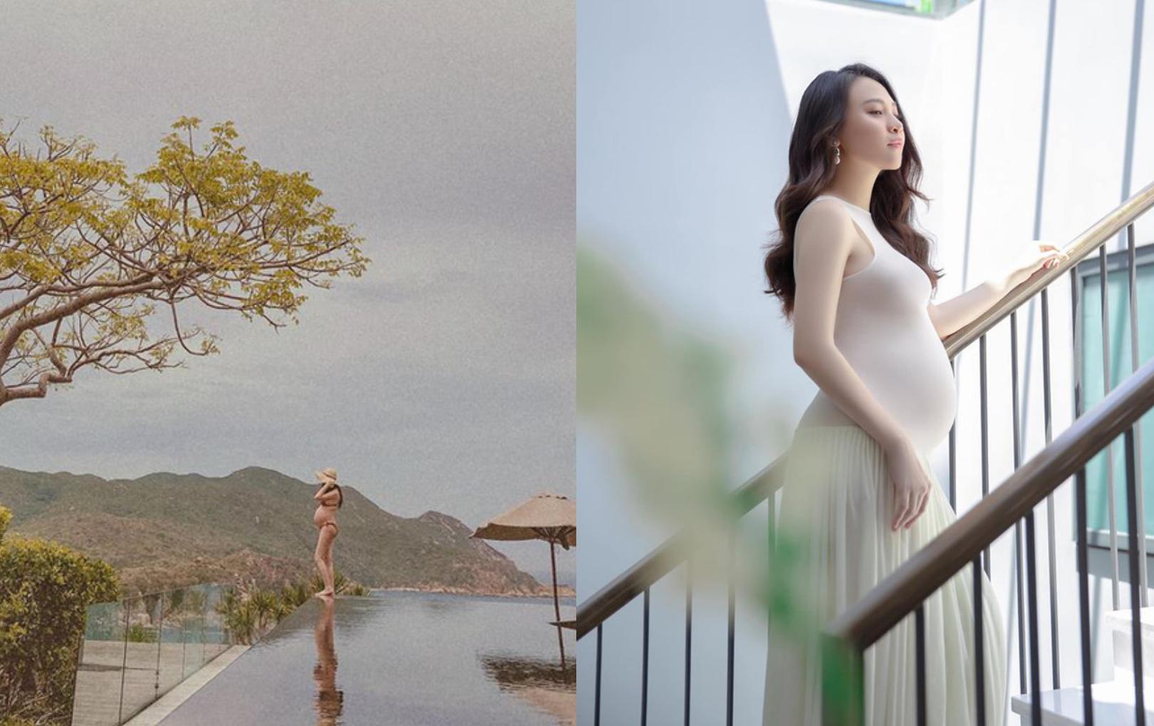 Chụp ảnh khoe bụng bầu bên hồ bơi vô cực, Đàm Thu Trang khiến netizen lo lắng