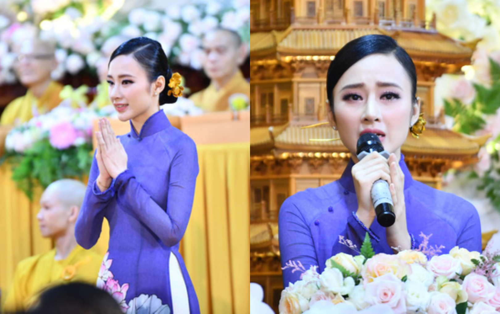 Angela Phương Trinh diện áo dài đẹp đến ngẩn ngơ, bật khóc khi nói về công ơn sinh thành của cha mẹ