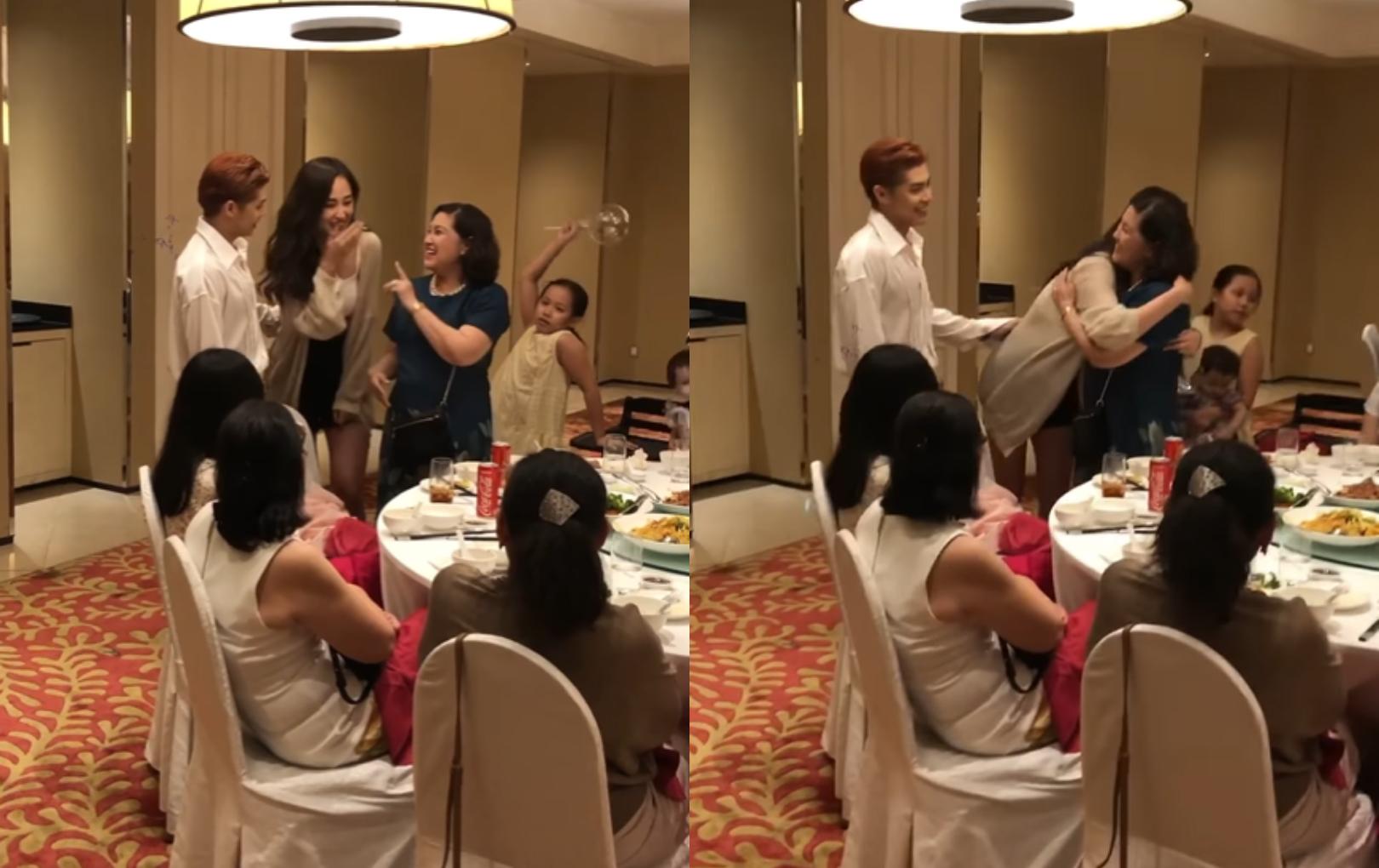 Mai Phương Thúy lễ phép cúi chào, nắm tay mẹ Noo Phước Thịnh đúng chuẩn dâu hiền