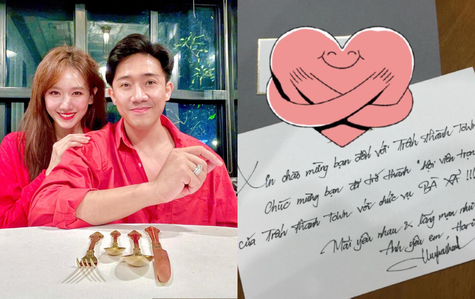 """Hé lộ bức thư tình đầu tiên Trấn Thành gửi Hari Won, mới ngày đầu hẹn hò đã gọi bạn gái là """"bà xã"""""""