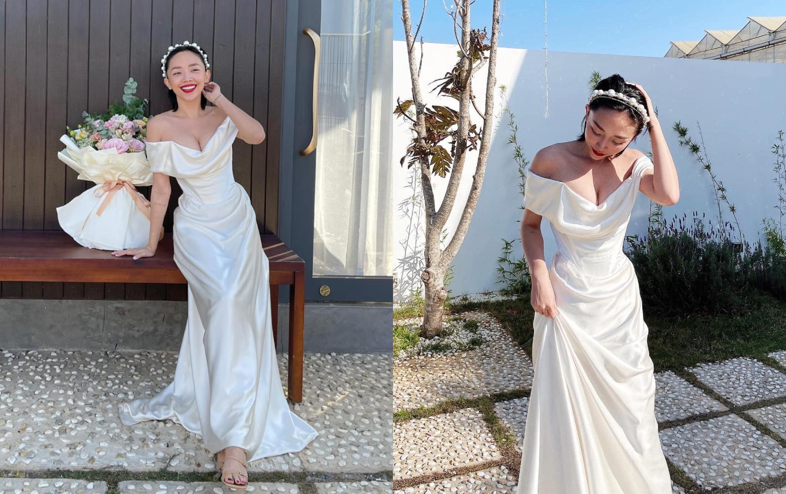 Tròn 1 năm kết hôn, Tóc Tiên diện lại váy cưới khoe nhan sắc ngày càng thăng hạng