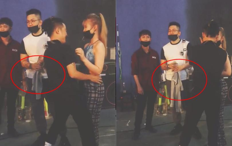 """Clip: Hậu trường Khởi My ôm ấp chọc ghẹo Thanh Duy, Kelvin Khánh cầm áo vợ mà mặt """"không cảm xúc"""" thấy thương!"""