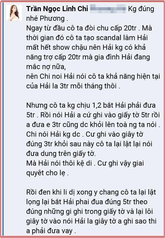 Lâm Vinh Hải bị vợ cũ Lý Phương Châu tố không chu cấp cho con chung, vợ mới Linh Chi liền phản ứng gay gắt
