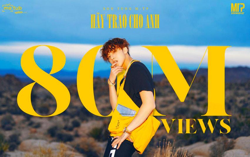 """Sơn Tùng tiếp tục """"phá đảo"""" Youtube Việt Nam với MV """"Hãy trao cho anh"""" - 80 triệu view trong vòng 1 tuần"""