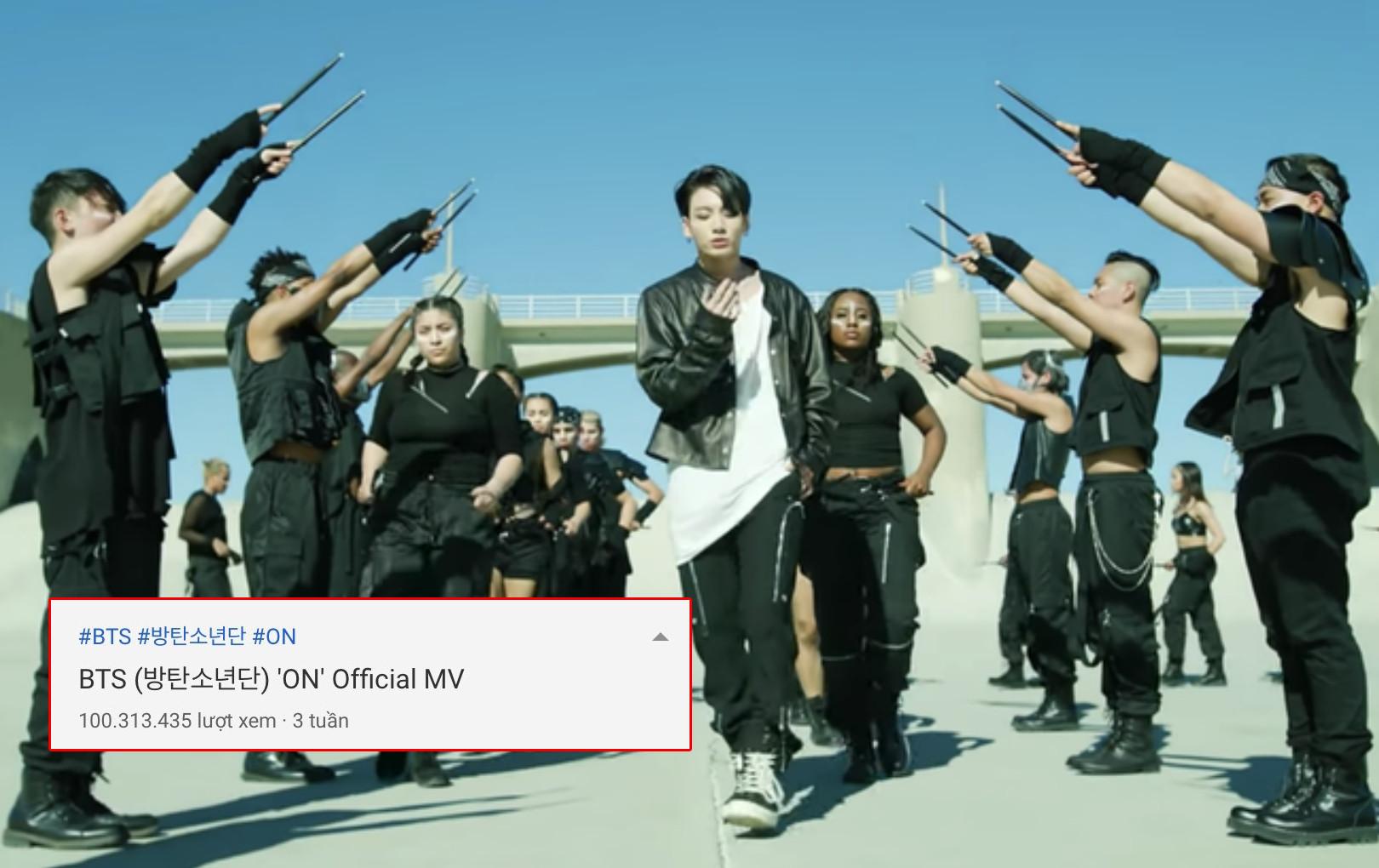 """BTS tiếp tục lập kỷ lục với MV """"ON"""" đạt 100 triệu view, tổng số lượng MV đạt được con số này cao kỷ lục"""