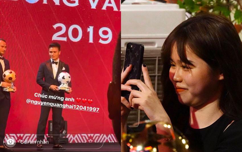 Khoảnh khắc Huỳnh Anh mỉm cười tự hào, chăm chú dõi theo Quang Hải lúc nhận giải