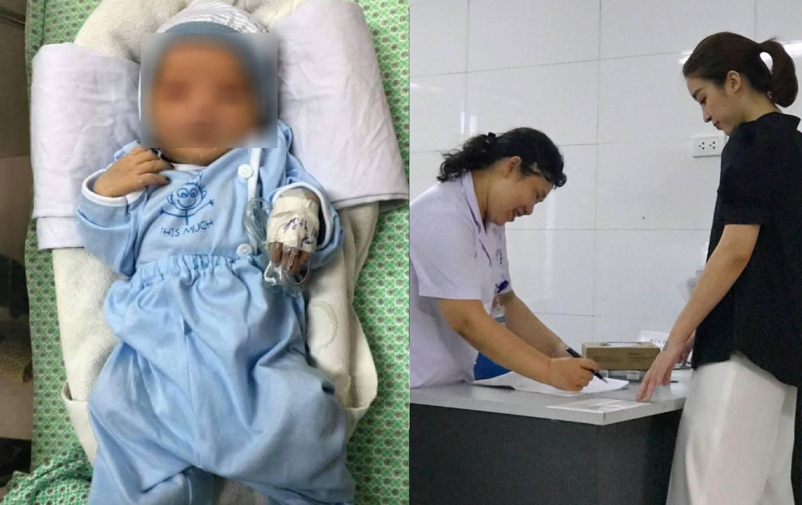 Đỗ Mỹ Linh đến bệnh viện hỗ trợ chi phí cho bé sơ sinh bị bỏ rơi ở hố gas giữa trời 40 độ