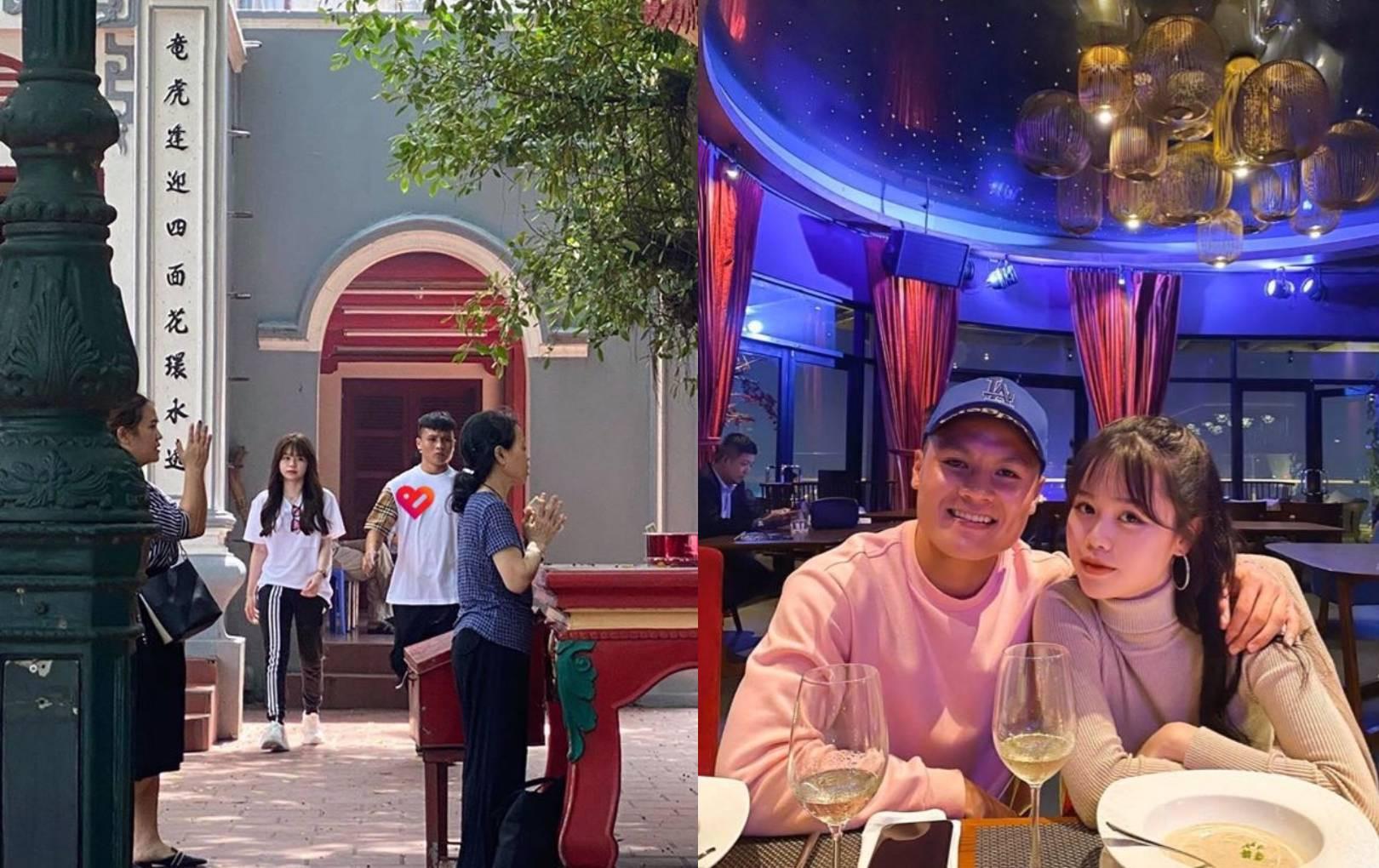 Quang Hải đi lễ cùng Huỳnh Anh, biểu cảm cả hai gây chú ý