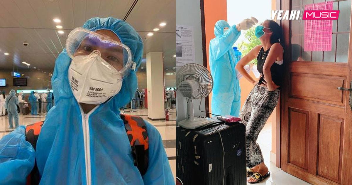 Nhớ nghề người mẫu, Minh Tú tạo dáng chuẩn thần thái khi được đo nhiệt độ tại khu cách ly