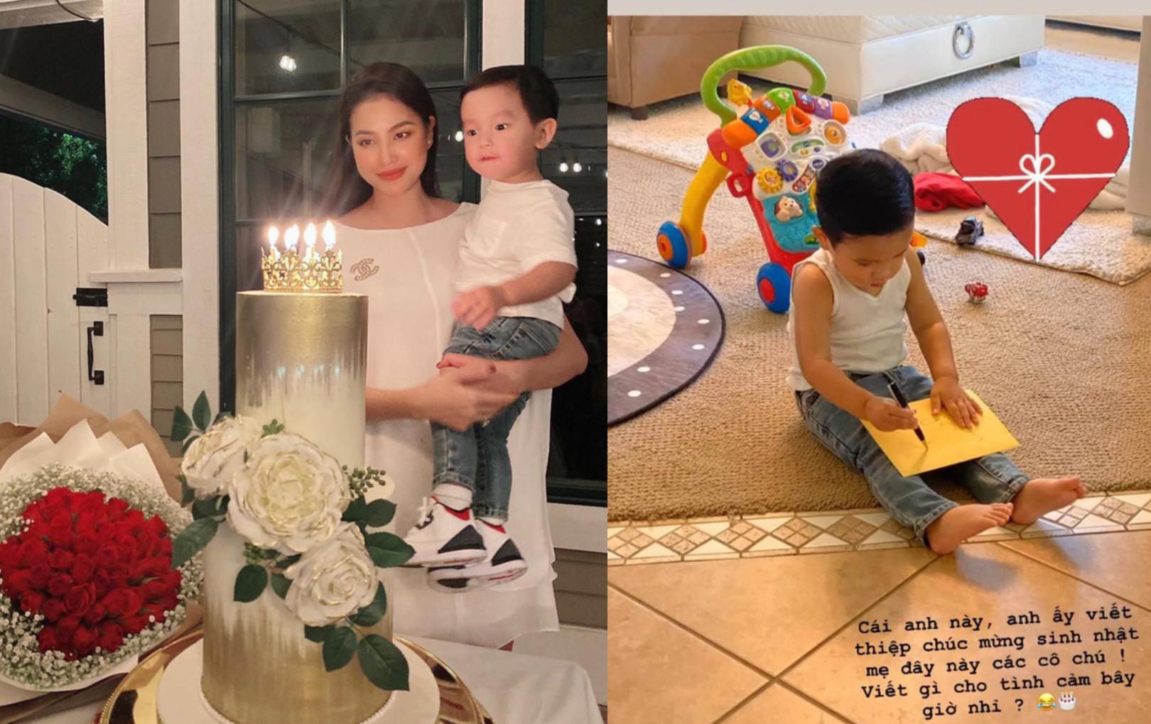 Phạm Hương khoe con trai hơn 1 tuổi đã biết viết thiệp tặng mẹ, nhìn thành quả mới... ngã ngửa