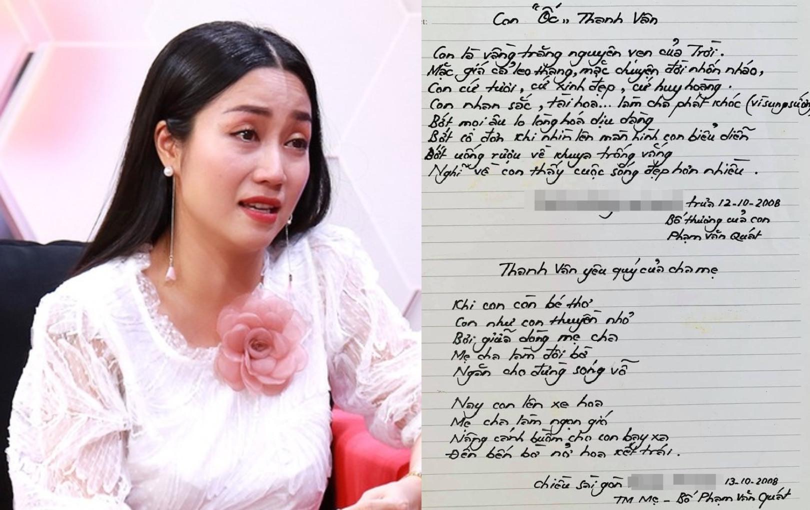 Ốc Thanh Vân nghẹn ngào khi thấy lá thư viết tay của bố trước lúc qua đời