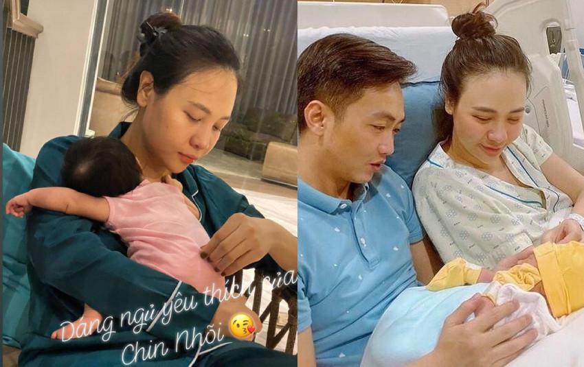 Cường Đô La khoe khoảnh khắc Đàm Thu Trang chăm con gái cực khéo