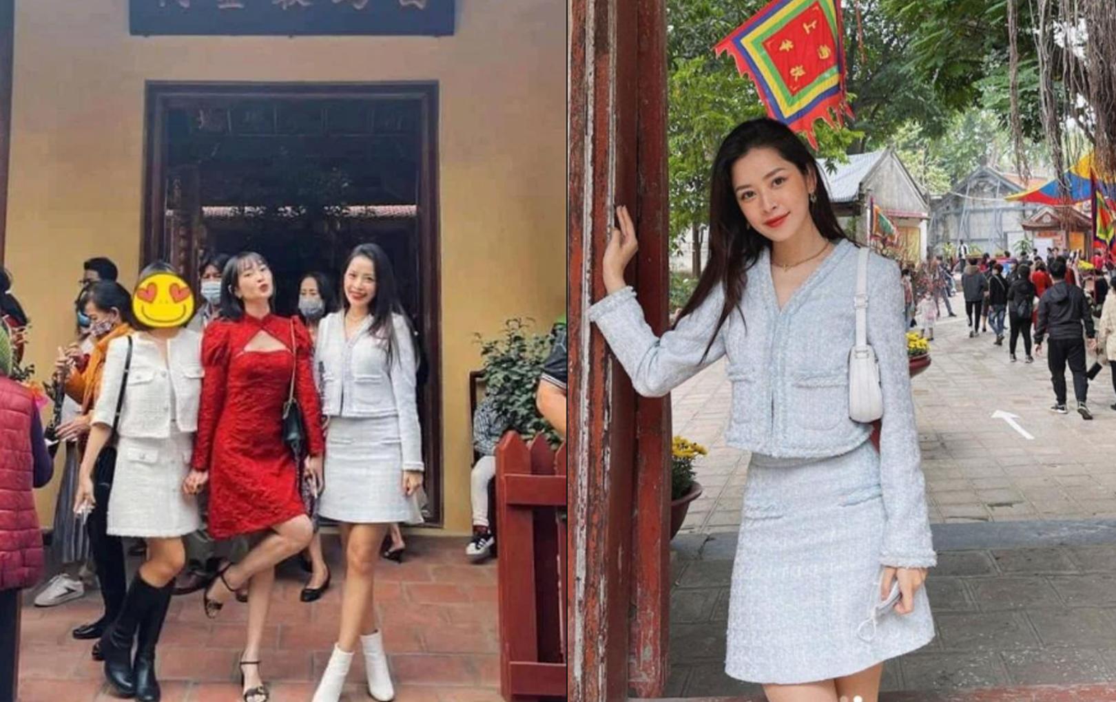 Chi Pu bị chỉ trích vì mặc váy ngắn và không đeo khẩu trang vào chùa