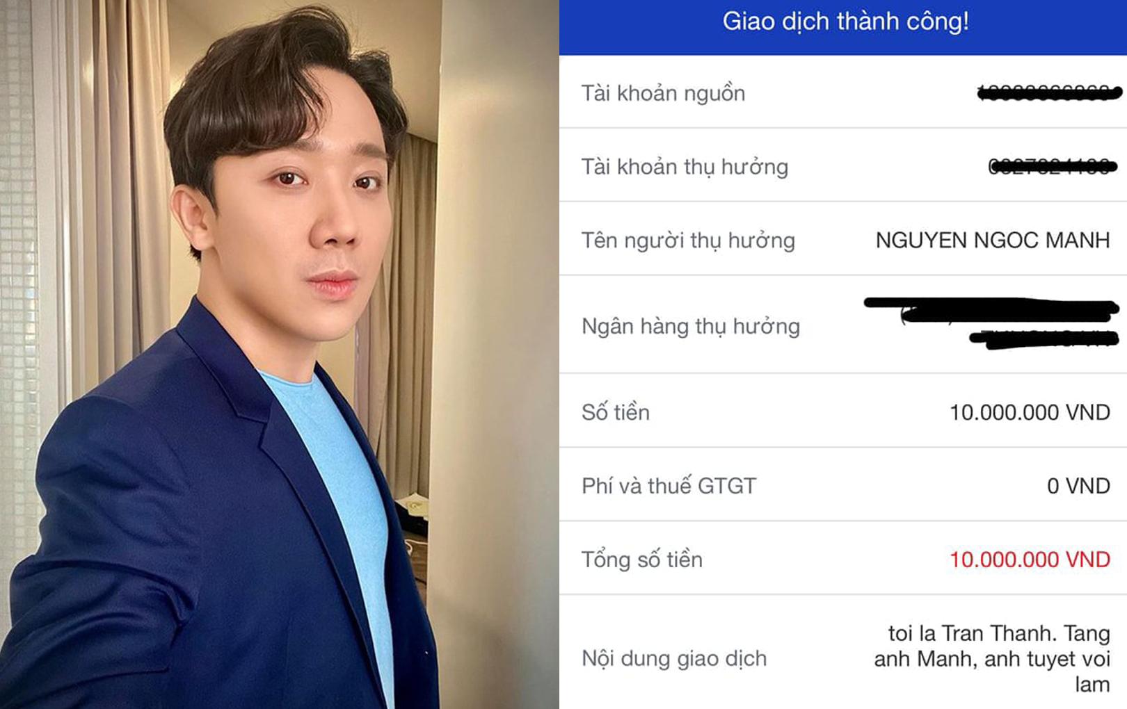 """Trấn Thành gửi tặng """"người hùng"""" Nguyễn Ngọc Mạnh 10 triệu đồng: """"Chúng ta hãy khuyến khích những điều tích cực!"""""""