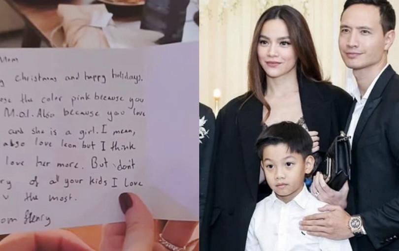 Hà Hồ khoe thiệp Giáng Sinh toàn bằng tiếng Anh của Subeo, hé lộ luôn mối quan hệ giữa con và Kim Lý
