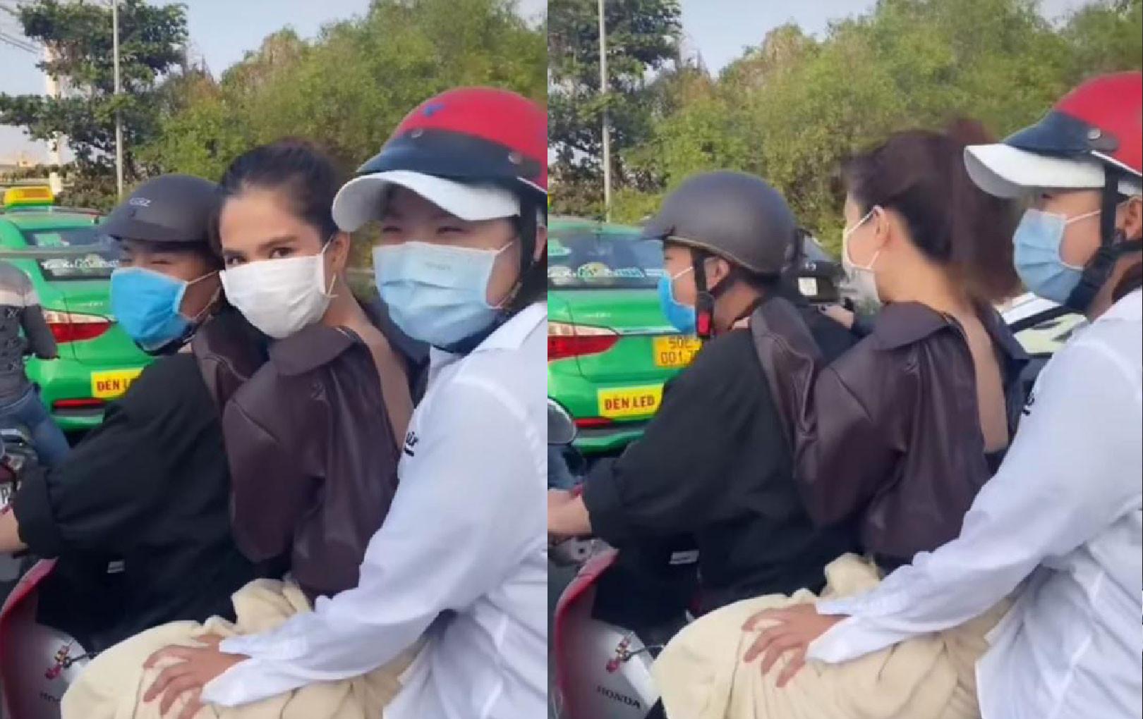 Ngọc Trinh không đội mũ bảo hiểm, chở 3 trên đường