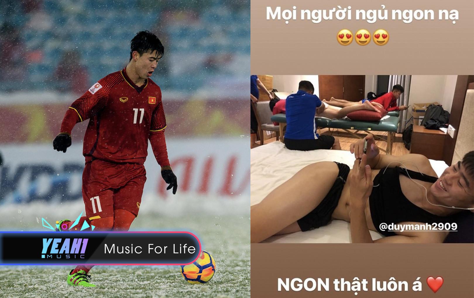 """Fan """"nóng mắt"""" vì """"ảnh nóng"""" lộ da thịt của trung vệ Duy Mạnh trước trận đấu Việt Nam - Campuchia"""