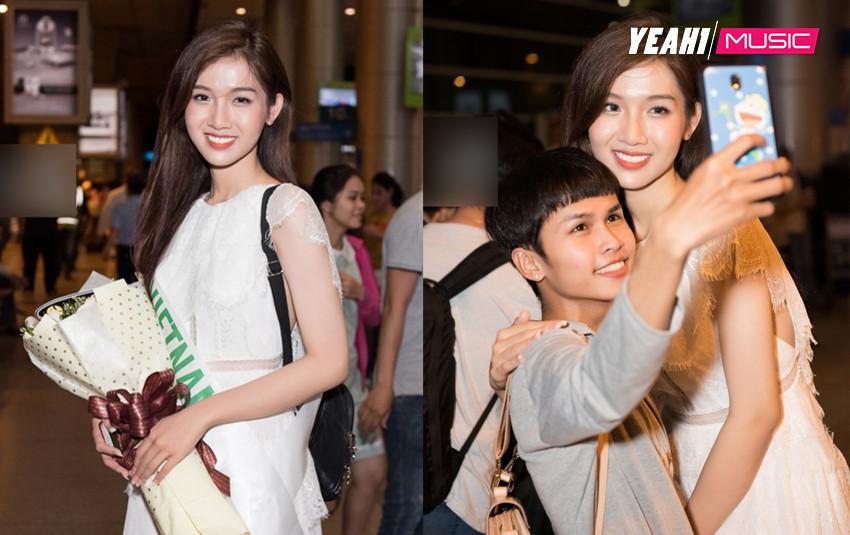Về nước lặng lẽ, Hoa hậu Nhật Hà vẫn được các fan chào đón nồng nhiệt tại sân bay