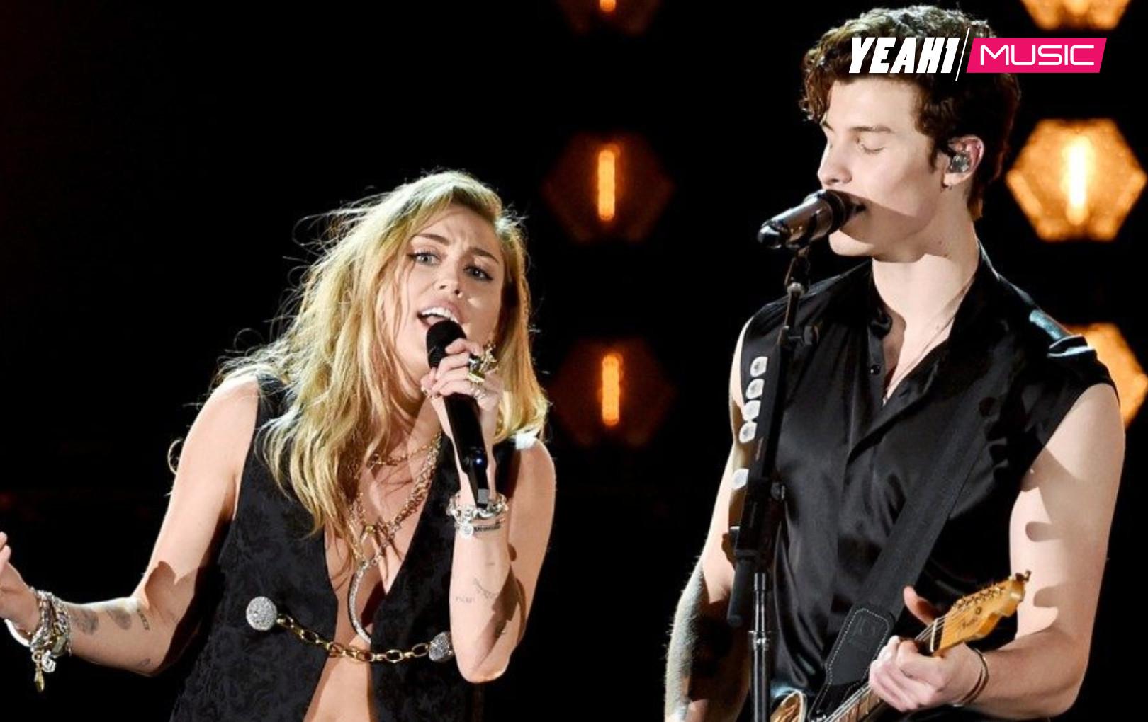 Miley Cyrus diện vest sexy, bùng nổ cùng Shawn Mendes tại Grammy 2019