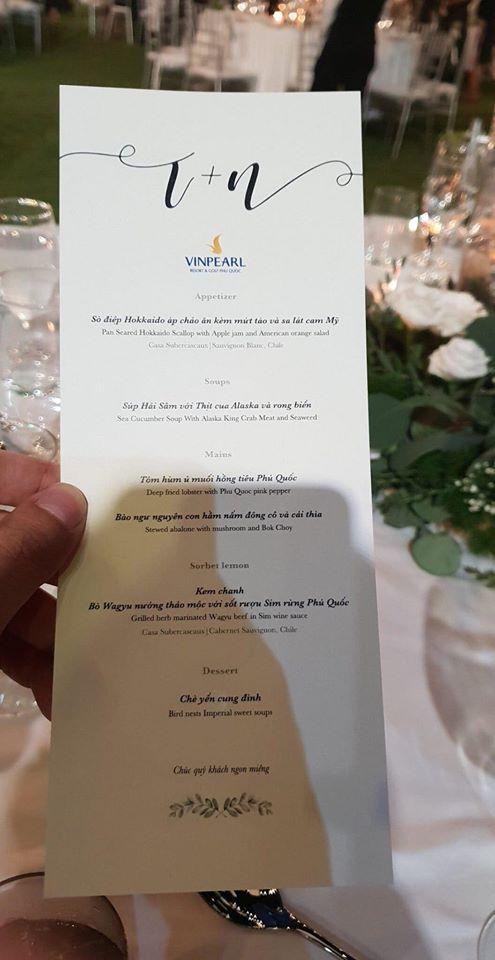Soi thực đơn sang chảnh, toàn sơn hào hải vị siêu đắt đỏ tại đám cưới Đông Nhi - Ông Cao Thắng