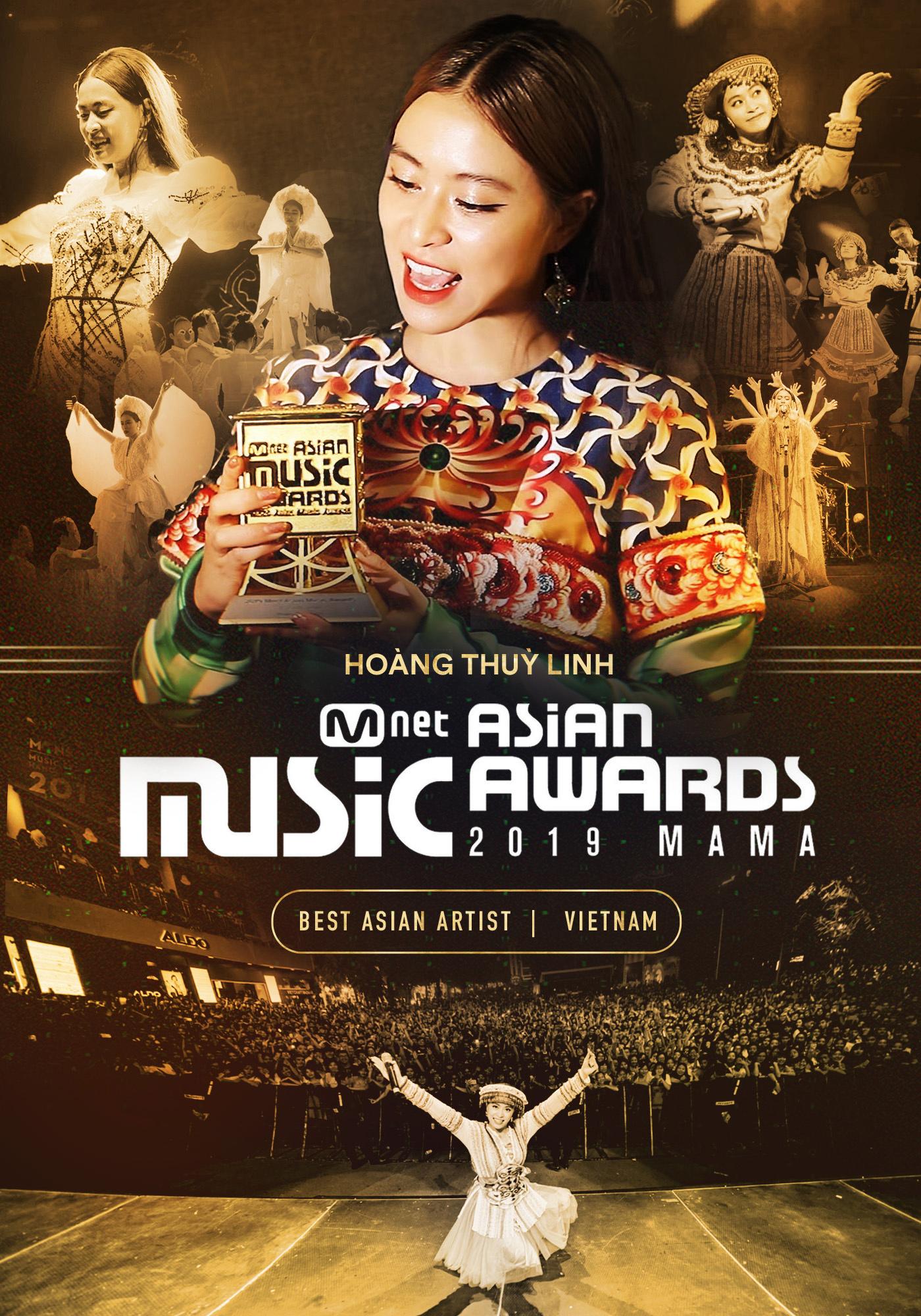 Hoàng Thùy Linh ẵm cúp Nghệ sĩ xuất sắc nhất của Việt Nam tại lễ trao giải MAMA 2019
