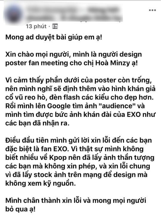 Bị chỉ trích vì xài chùa ảnh concert EXO, Hòa Minzy và designer lên tiếng giải thích