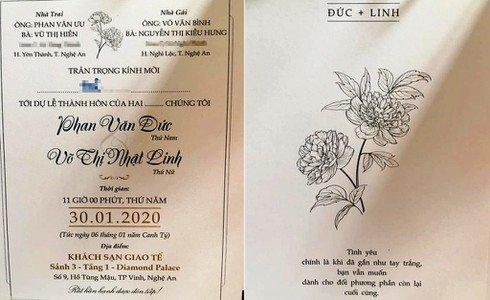Lộ thiệp cưới của Văn Đức - Nhật Linh với thông điệp cực ngôn tình, hôn lễ tổ chức vào mùng 6 Tết
