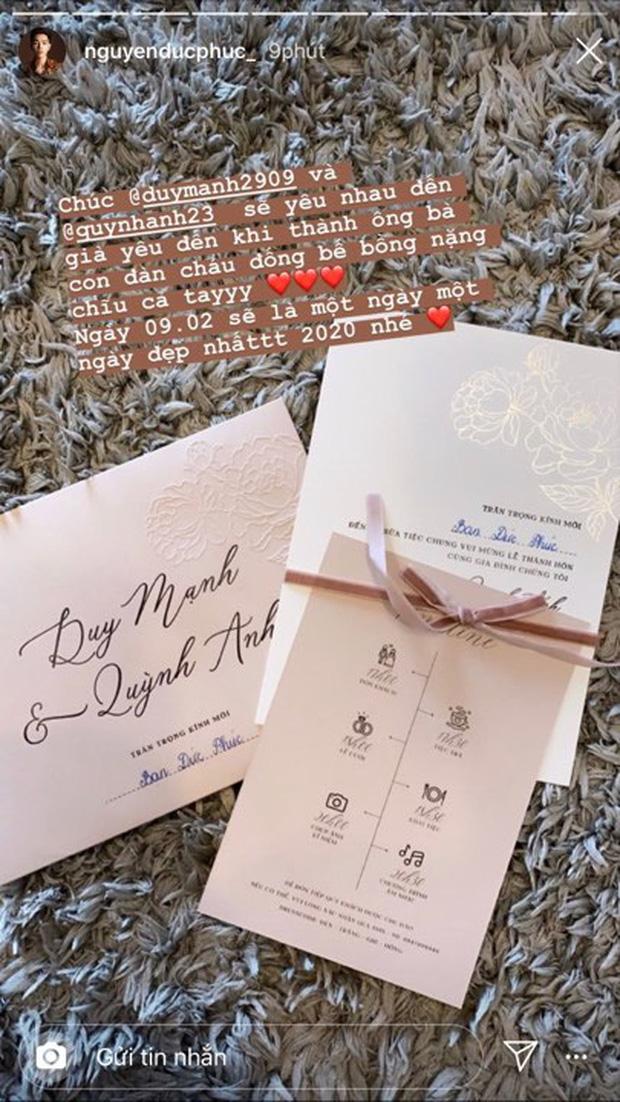 Đức Phúc là sao Việt tiếp theo nhận được thiệp cưới của Duy Mạnh - Quỳnh Anh
