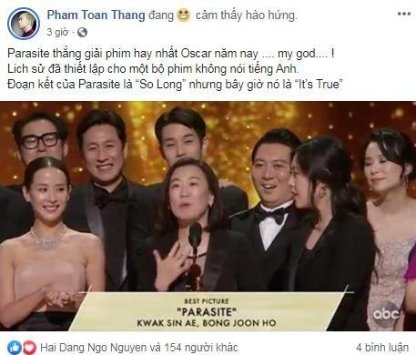 Dàn sao Việt-Hàn vỡ òa trước chiến thắng lịch sử của Parasite tại Oscar 2020