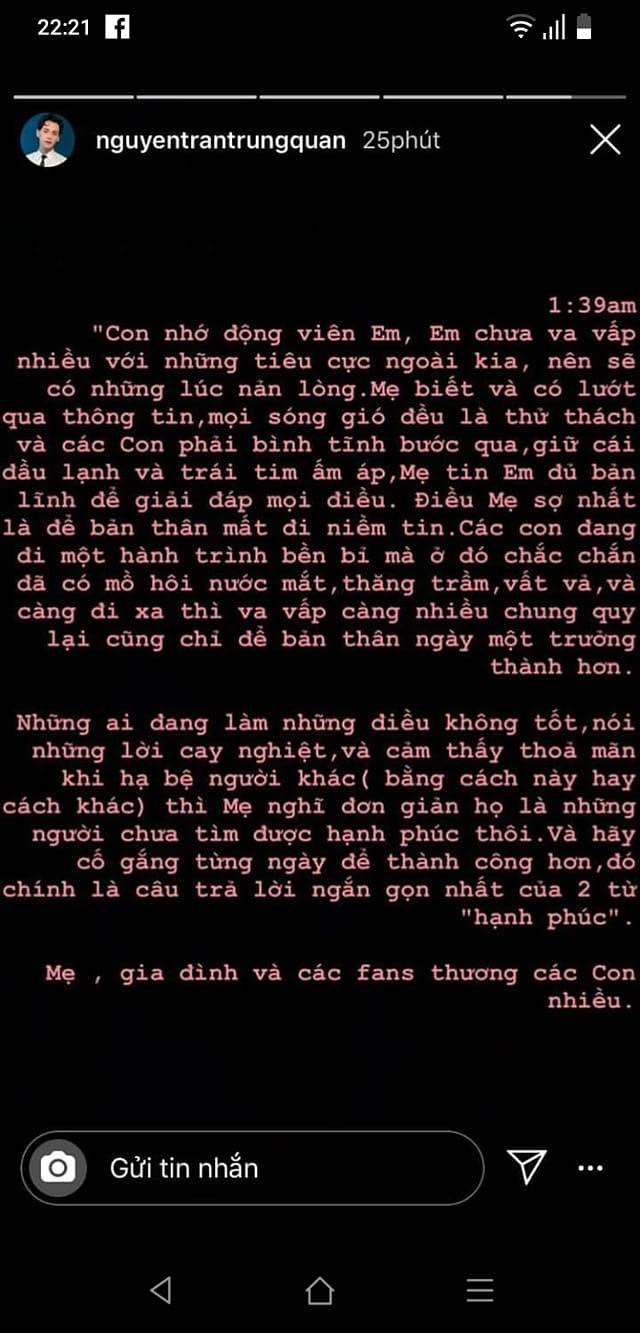 Nguyễn Trần Trung Quân động viên Denis Đặng giữa scandal đạo nhái